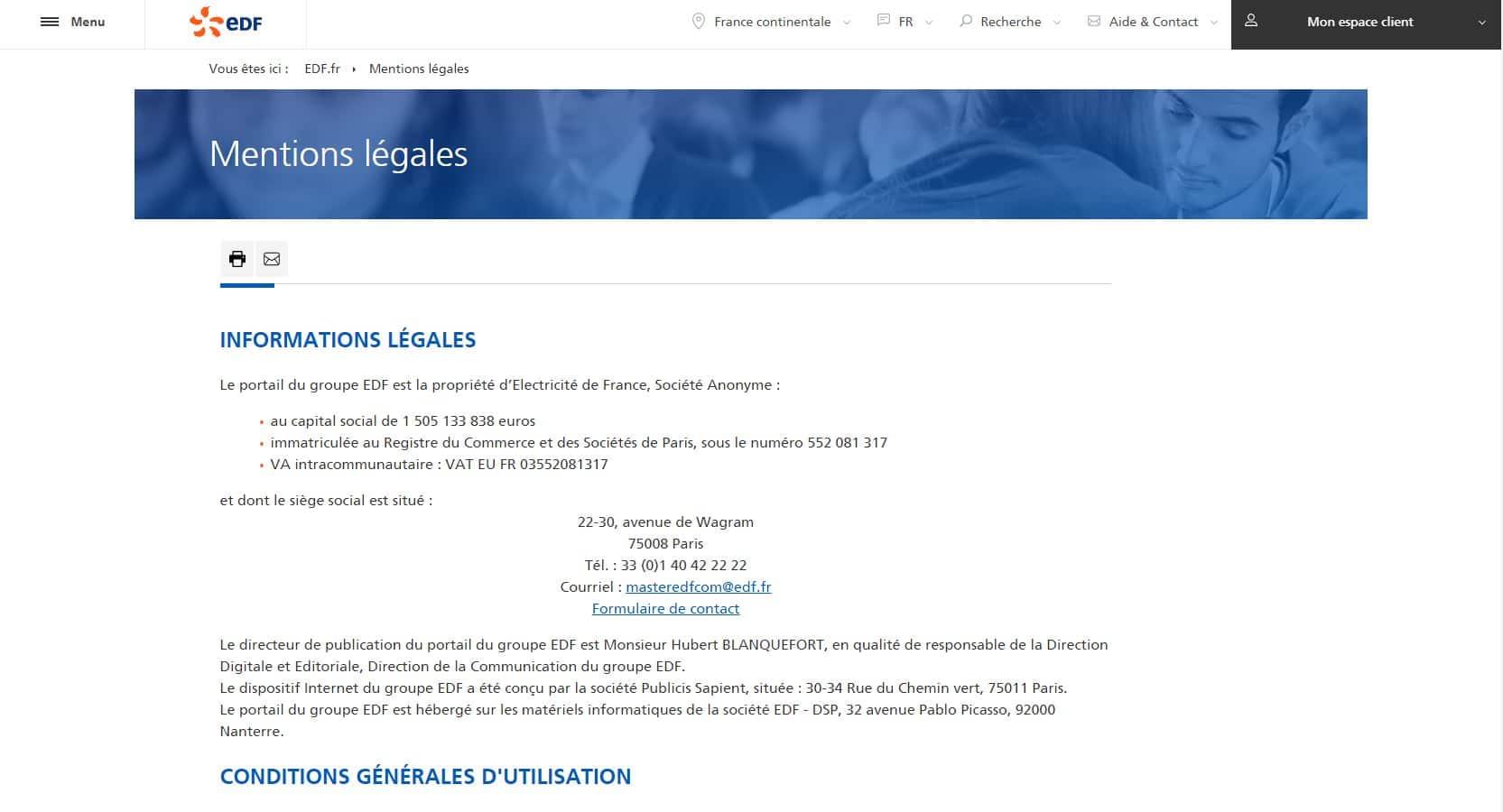 mentions legals EDF
