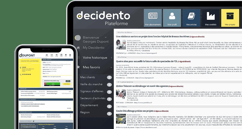 Fiches sociétés et plateformes Decidento - Mock-up - aide au développement commercial et à la prospection commercial.